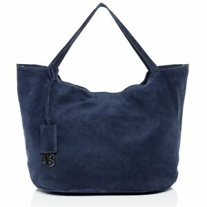 Das Bild wird geladen Handtasche-SELMA-Damen-Shopper-Schultertasche- Wildleder-Umhaengetasche-Gross- 5e05686415
