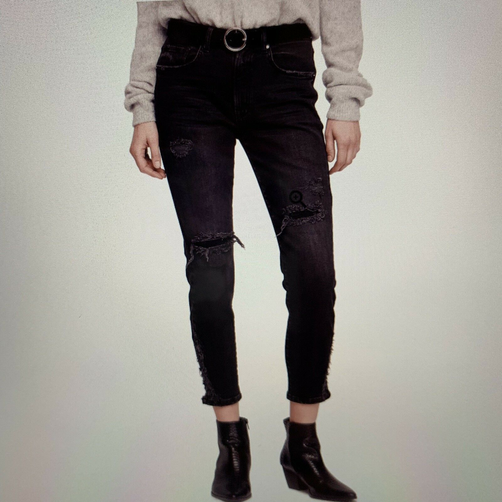 FREE PEOPLE About A Girl Distressed Ripped High Waist Crop Skinny Jeans NWT