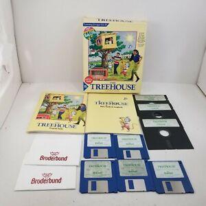 """Vintage Big Box PC Game MS-DOS The Treehouse 3.5"""" & 5.25"""" CIB w/ Box Broderbund"""