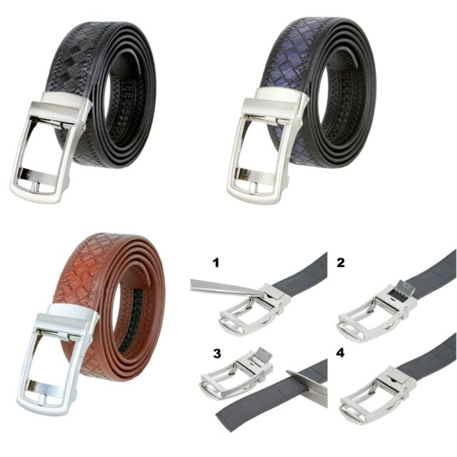 Vbiger Mens 1 3//8 wide Genuine Leather Belt without Buckle Ratchet Belt