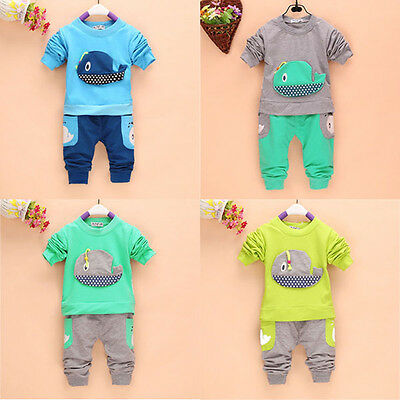 2PC New baby Tops+long Pants set boys clothing whale size:1-4 years