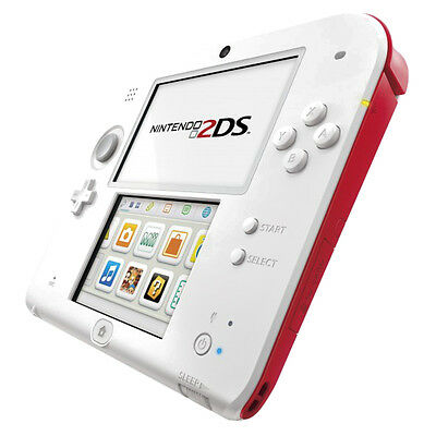 Nintendo 2DS - White & Red Handheld System Very Good Condition