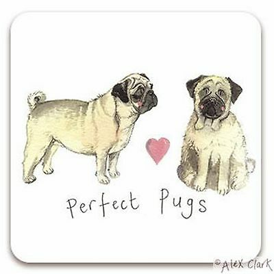 Dog Coaster,Perfect Pugs, Pug Set/2 by Alex Clark