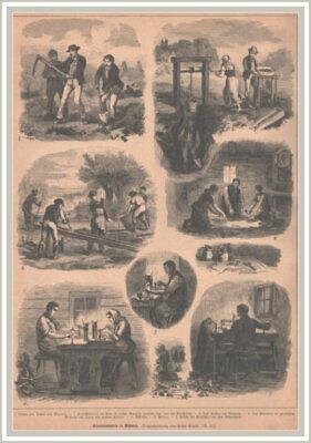 """""""granatindustrie In Böhmen"""" Granat-granaten. Original Holzstich Erschienen 1884"""