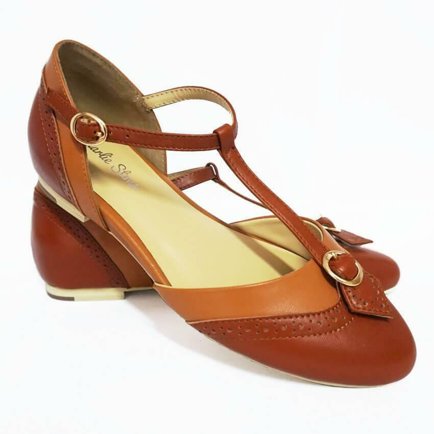Charlie Stone Parisienne chaussures marron Vintage Flats Retro Pin Up Rockabilly