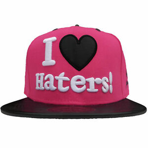 81f90e3d712 Details about Baseball State Property I Heart Haters Snapback Flat Peak Hat  Clearance Stock