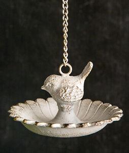 Cast Iron Hanging Bird Feeder Rustic White Bird Bowl Outdoor Garden Decor New