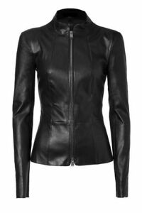 HOT Women/'s Genuine Lambskin Real Leather Motorcycle Slim fit Biker Jacket NEW