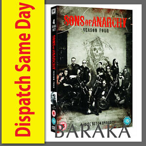 SONS-OF-ANARCHY-COMPLETE-SEASON-SERIES-4-DVD-box-set-NEW-amp-SEALED-4TH-FOUR