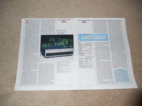 Full Test 1988 Revox B-250 Amplifier Review 2 pg