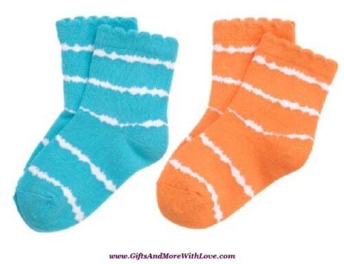 Gymboree NWT 2 pair Aqua Blue Orange DIP DYE DRESS SOCKS 0 3 6 9 12 24 2 3 5 6 7