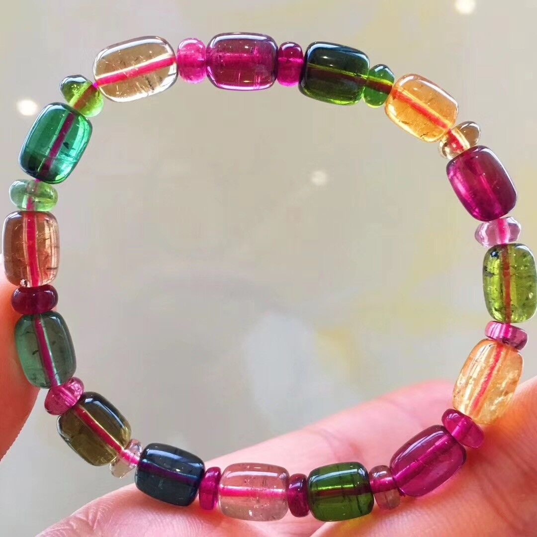 6.87mm Top Natural multicoloured Tourmailne Crystal Rubellite Carving Bracelet