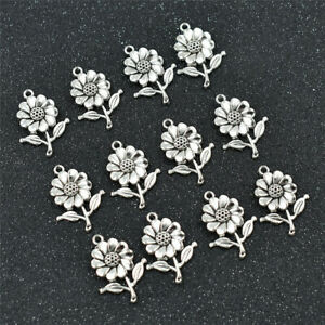 10pcs-Sunflower-Beads-Charms-Silver-DIY-Necklace-Bracelet-Jewelry-Making-Gifts