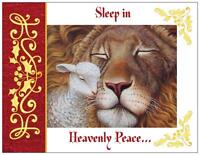 20 Christmas Lion Lamb Religious Peace Greeting Flat Cards Env