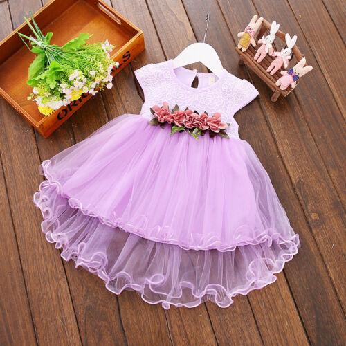 Toddler Infant Kid Baby Girl Summer Dress Princess Party Wedding flowers Dresses
