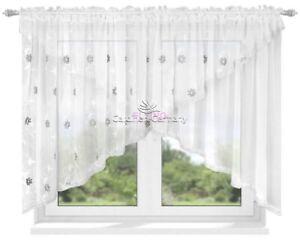 Fertiggardine Gardine Vorhang Voile Panel Weiß Wohnzimmer Zirkonia 400cm 150cm