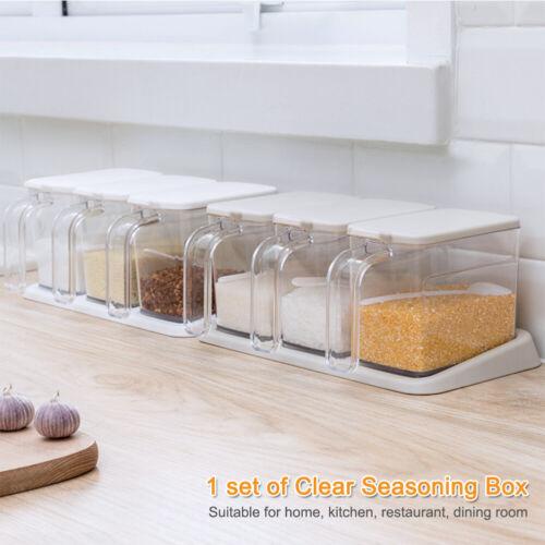 3 In 1 Spice Jar Salt Clear Seasoning Box Modern Storage Container Home Sugar