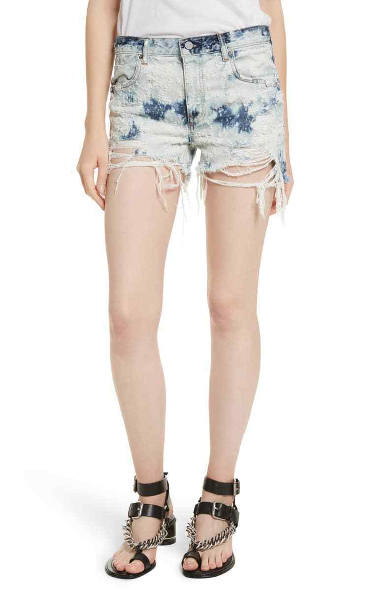 T By Alexander Wang Shadow Ripped Denim Shorts  245 Size 26 D 434 NEW