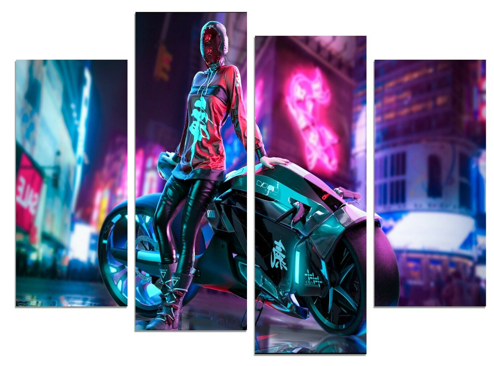 Cyberpunk sci-fi motorbike girl 56 x 43  canvas prints
