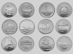 Uncirculated-1992-Canada-25-c-quarter-PROVINCES-12-coins-complete-Set-Collection