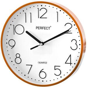 Round-Wall-Clock-PERFECT-Orange-Case-Arabic-Numerals