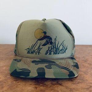 Vintage-Camo-Snapback-Mesh-Trucker-Hat-Duck-Hunting-Nature-Outdoors-Dad-Cap
