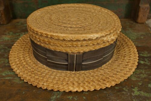 Antique 1920's Skimmer Boater Straw Hat REA's Boon