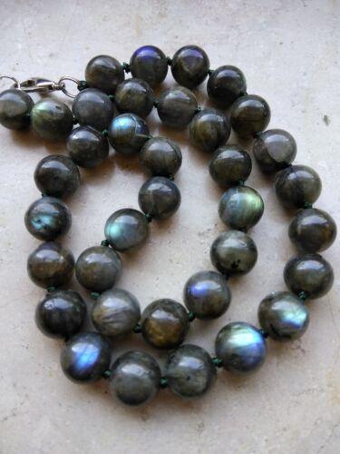 Schöne Halskette LABRADORIT Blauschimmer 12 mm L-45cm Kette #c498  Collier NEU!!
