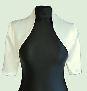 New-Women-Ivory-Wedding-Prom-Satin-Bolero-Shrug-Jacket-S-M-L-XL-XXL