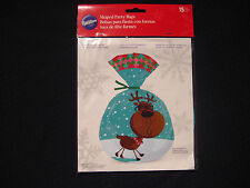 Wilton - Shaped Party / Treat Bags -15 Ct- Christmas Reindeer w/ Glasses in Snow