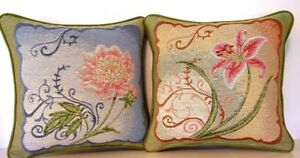 Matching Flowers In Blue /& Tan Set 2 Of Small Tapestry Pillows New Flowers