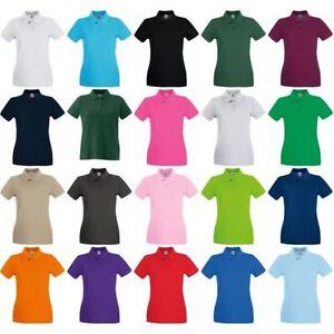 mujer-chica-FRUTA-of-the-Loom-Superior-100-Polo-De-Algodon-Cuello-Camiseta-Top