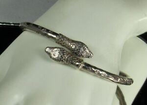 SNAKE-SERPENT-BYPASS-Bracelet-Vintage-STERLING-37-2g-Solid-Rigid-7-5-034-DETAILED