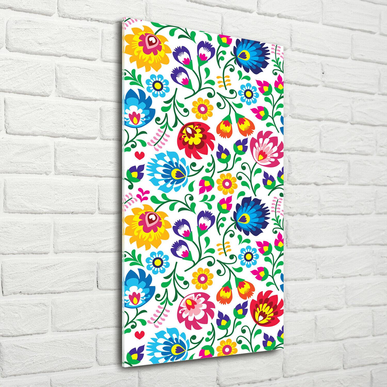 Wand-Bild Kunstdruck aus Hart-Glas Hochformat 70x140 Ethnisches Muster
