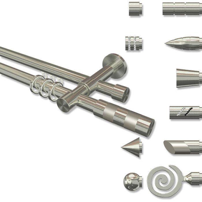 Gardinenstange mit Rohr u. Innenlauf 20 mm Ø, Edelstahl Optik Zylinder Bi-Farbe | Klein und fein