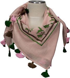 Trachtentuch-Rosa-100-Wolle-wool-scarf-Stickerei-Gaemse-Eichenlaub-Quasten