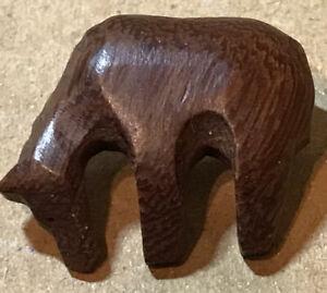 "Primitive Handcarved Dark Brown Chunky Wood HORSE Button 7/8""  Primitive"