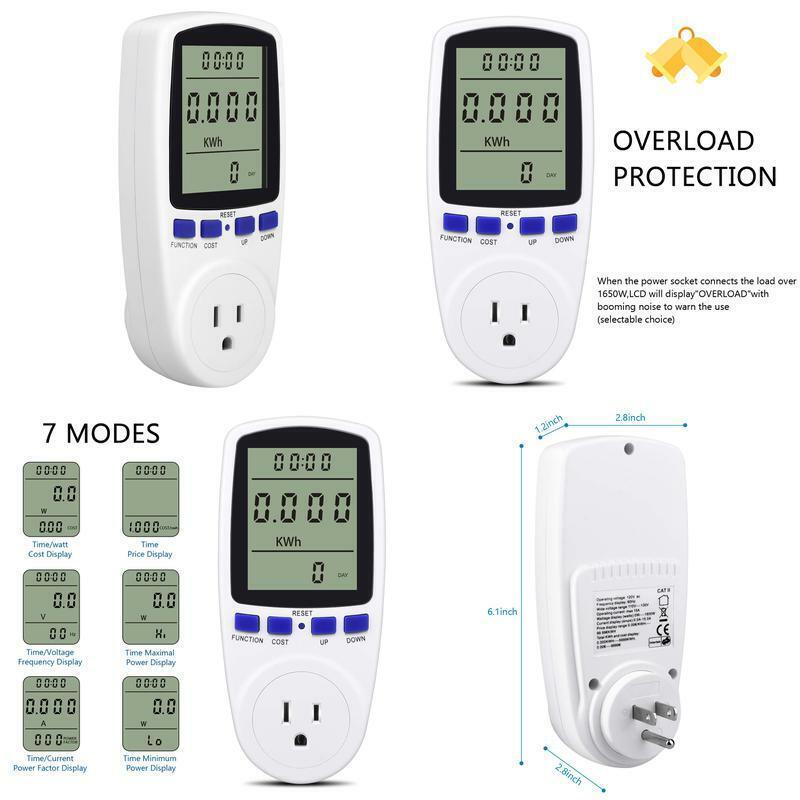 Kuman Electricity Usage Monitor Plug Power Meter Energy