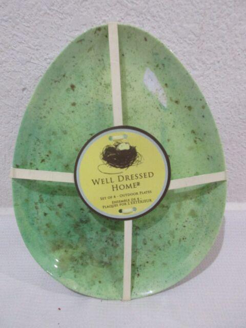 Well Dressed Home Speckled Egg  Melamine Salad Plates Easter Set 4 Yellow