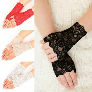 Retro Lace Stretch Fingerless Wrist Gloves Christmas Goth Fancy Dress Accessory