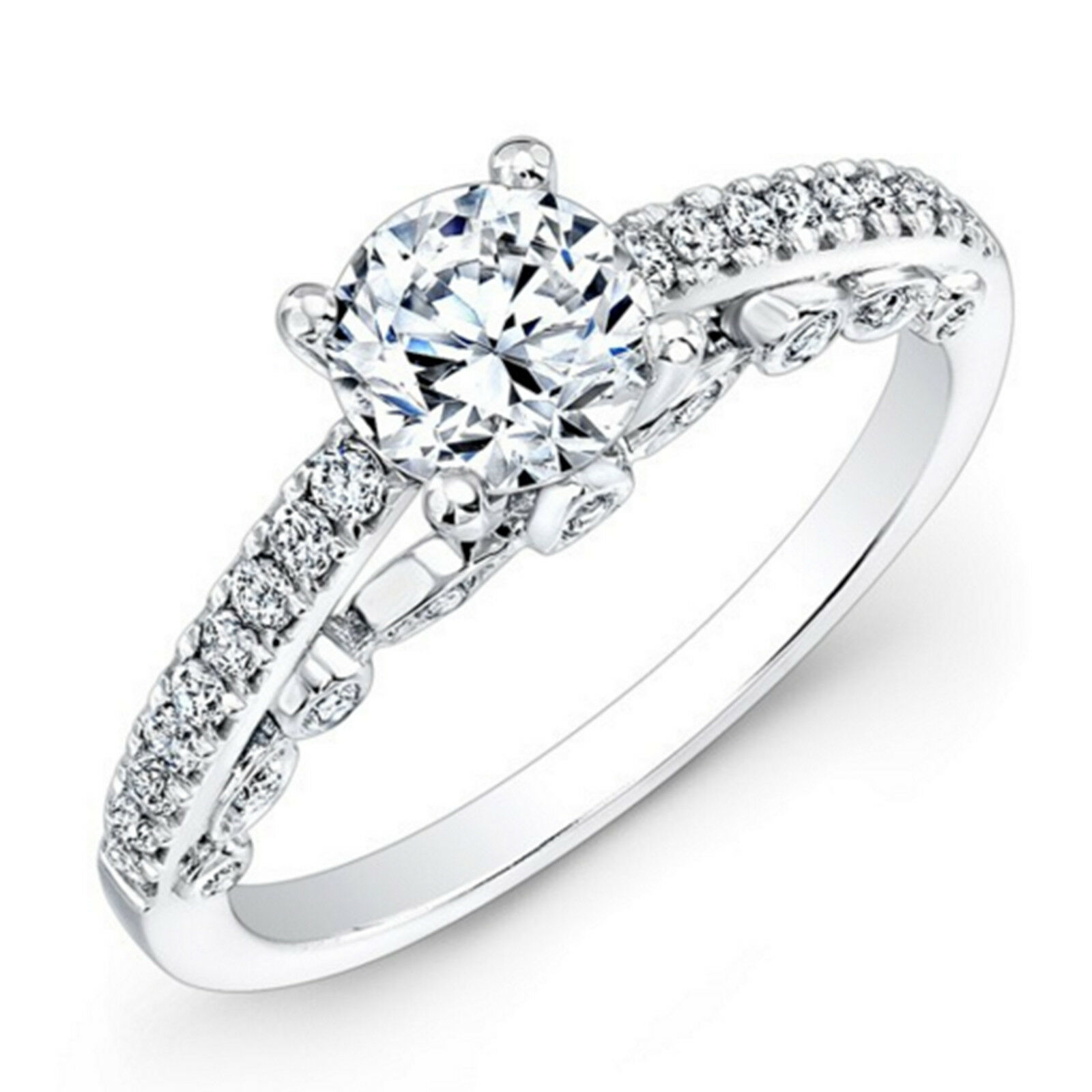 0.64 Ct VS1 Real Diamond Engagement Ring 14K White gold Rings Size 4 5 6