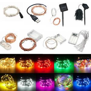 BATTERIA-SOLARE-12V-1-18M-10-200-LED-Micro-Argento-filo-di-rame-filo-di-lucine