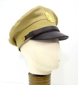 US-Army-Officers-Peak-Cap-Badge-Khaki-Crusher-WW2-Military-Dress-Uniform-Hat