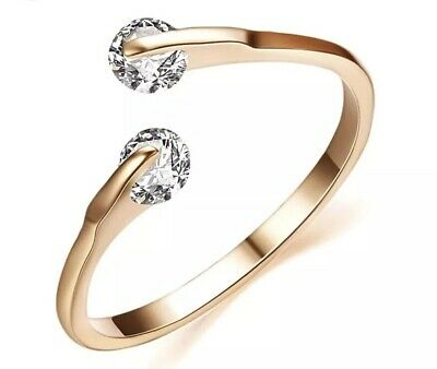Stetig Ring Swarowski Zirkonia Rose-gold Größenverstellbar Verlobung Hochzeit