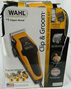 wahl clip n groom men's haircut kit with built in