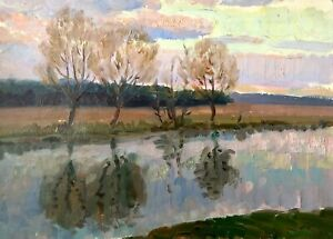 painting-Ukranian-landscape-impressionism-vintage-river-decor-art-Kolomoitsev