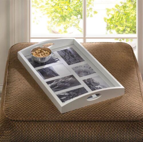 7-slot White Wood Photo Frame Tray