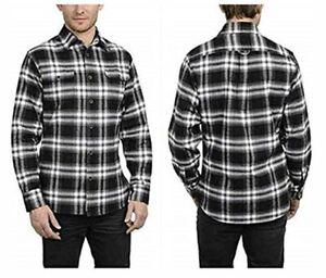 Jachs-Men-s-Long-Sleeve-Brawny-Flannel-Shirt-Variety-M-Black-Grey-White