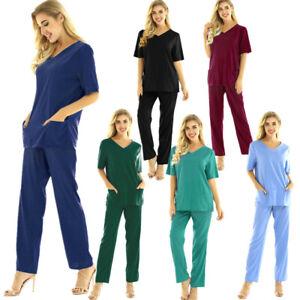 Mens Womens Medical Doctor Uniform Hospital Nurse Scrubs Lab Costume Top Pants