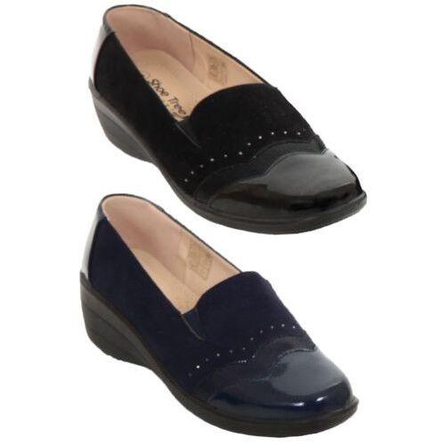 Ladies Faux Diamante Suede Patent Toe Diamante Faux Stud Slip On Low Wedge Loafer Shoes a5e71c